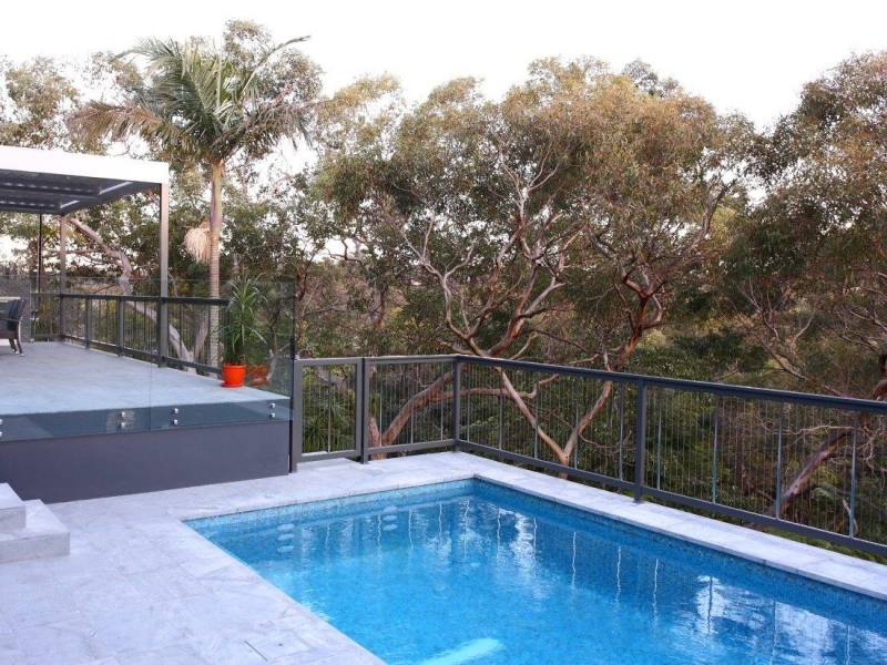 Sentrel Vertical Cable Pool Fencing. Colour: Zeus Timberland