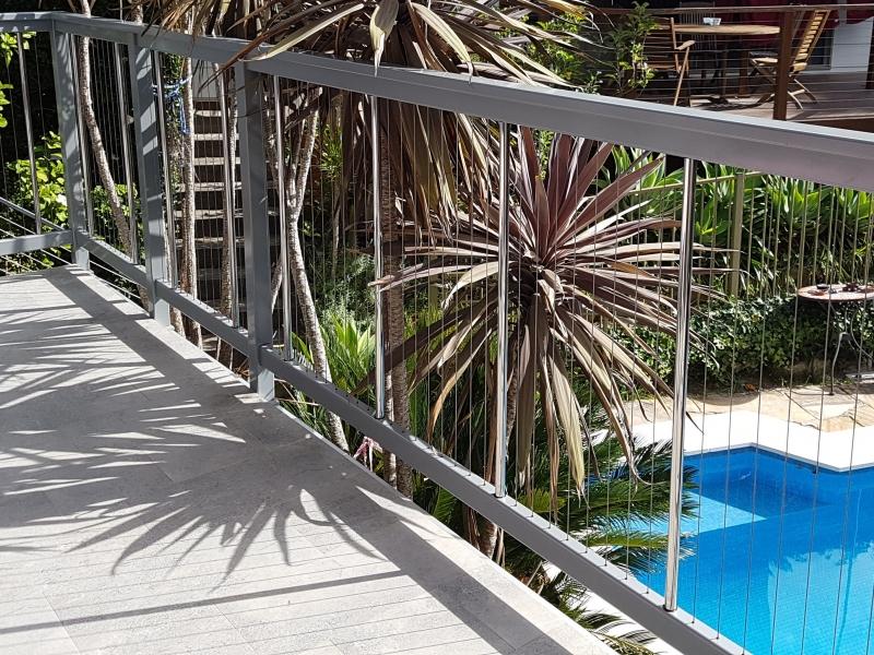 Sentrel Vertical Cable Pool Fencing. Colour: Zeus Grey