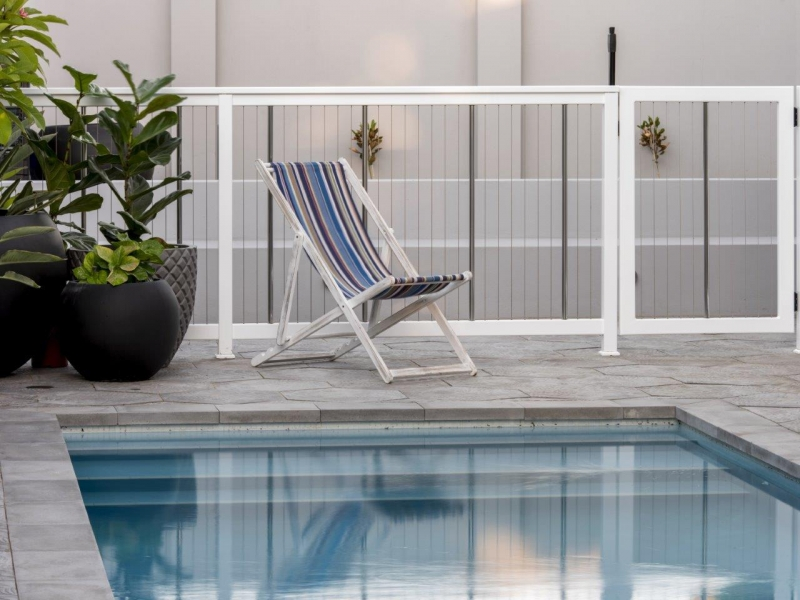 Sentrel Vertical Cable Pool Fencing. Colour: Zeus White